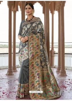 Grey Astonishing Designer Wedding Wear Silk Sari