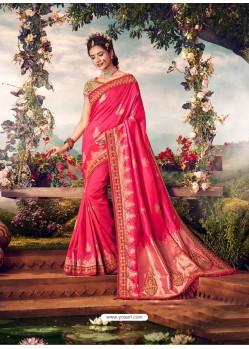 Fuchsia Mersmeric Designer Wedding Wear Silk Sari