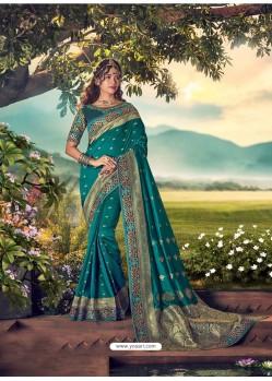 Teal Mersmeric Designer Wedding Wear Silk Sari