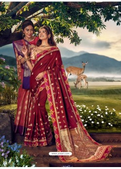 Maroon Mersmeric Designer Wedding Wear Silk Sari