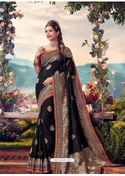 Black Mersmeric Designer Wedding Wear Silk Sari
