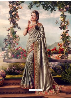 Grey Mersmeric Designer Wedding Wear Silk Sari