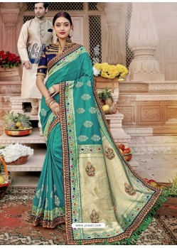 Aqua Mint Mersmeric Designer Wedding Wear Silk Sari