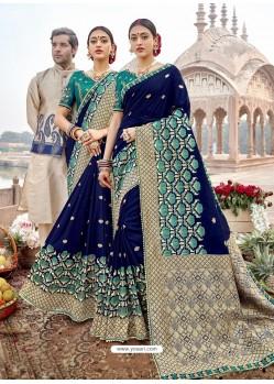 Dark Blue Mersmeric Designer Wedding Wear Silk Sari