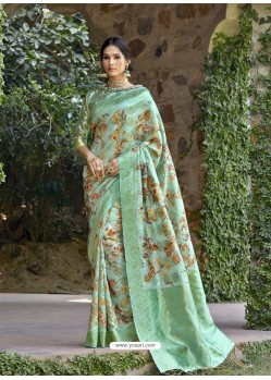Sea Green Designer Party Wear Art Silk Sari
