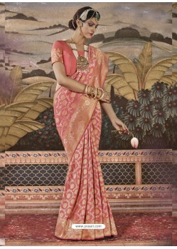 Peach Mersmeric Designer Wedding Wear Silk Sari