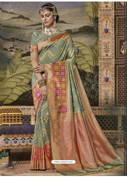 Olive Green Mersmeric Designer Wedding Wear Silk Sari