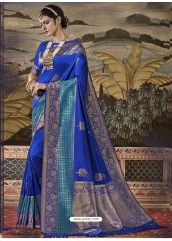 Royal Blue Mersmeric Designer Wedding Wear Silk Sari