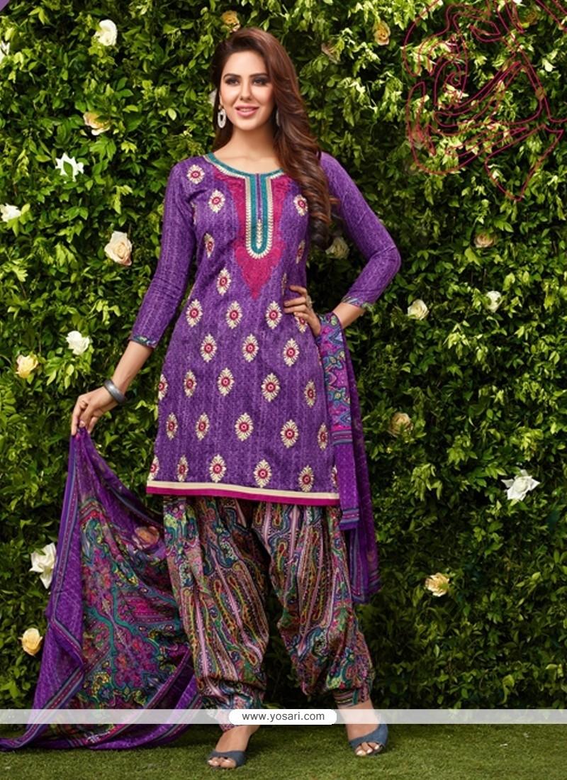 Enthralling Purple Glessh Designer Patiala Suit