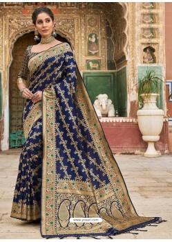Dark Blue Stylish Designer Wedding Wear Silk Sari