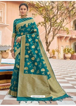 Teal Stylish Designer Wedding Wear Silk Sari