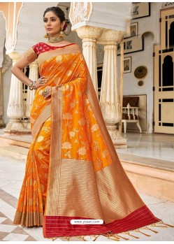 Yellow Stylish Designer Wedding Wear Silk Sari