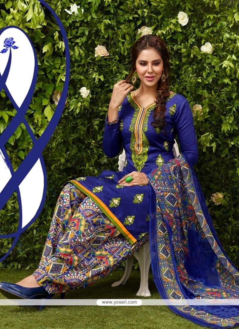 Orphic Embroidered Work Glessh Blue Designer Patiala Suit