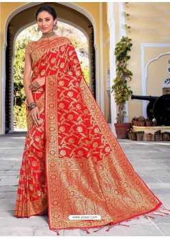 Red Stylish Designer Wedding Wear Silk Sari