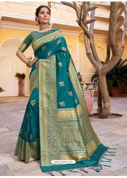 Turquoise Stylish Designer Wedding Wear Silk Sari