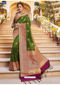 Forest Green Stylish Designer Wedding Wear Silk Sari