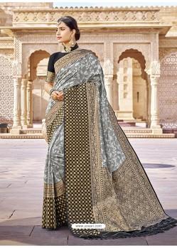 Grey Stylish Designer Wedding Wear Silk Sari