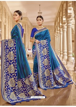 Royal Blue Stylish Designer Wedding Wear Silk Sari