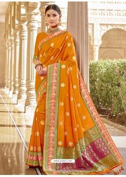 Orange Stylish Designer Wedding Wear Silk Sari