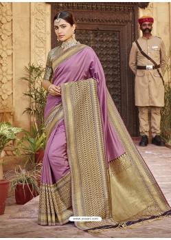 Lavender Stylish Designer Wedding Wear Silk Sari