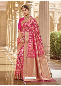 Rani Stylish Designer Wedding Wear Silk Sari