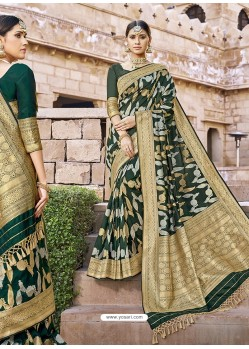 Dark Green Stylish Designer Wedding Wear Silk Sari