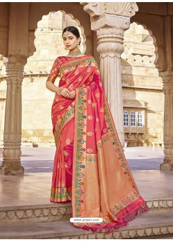 Light Red Stylish Designer Wedding Wear Silk Sari