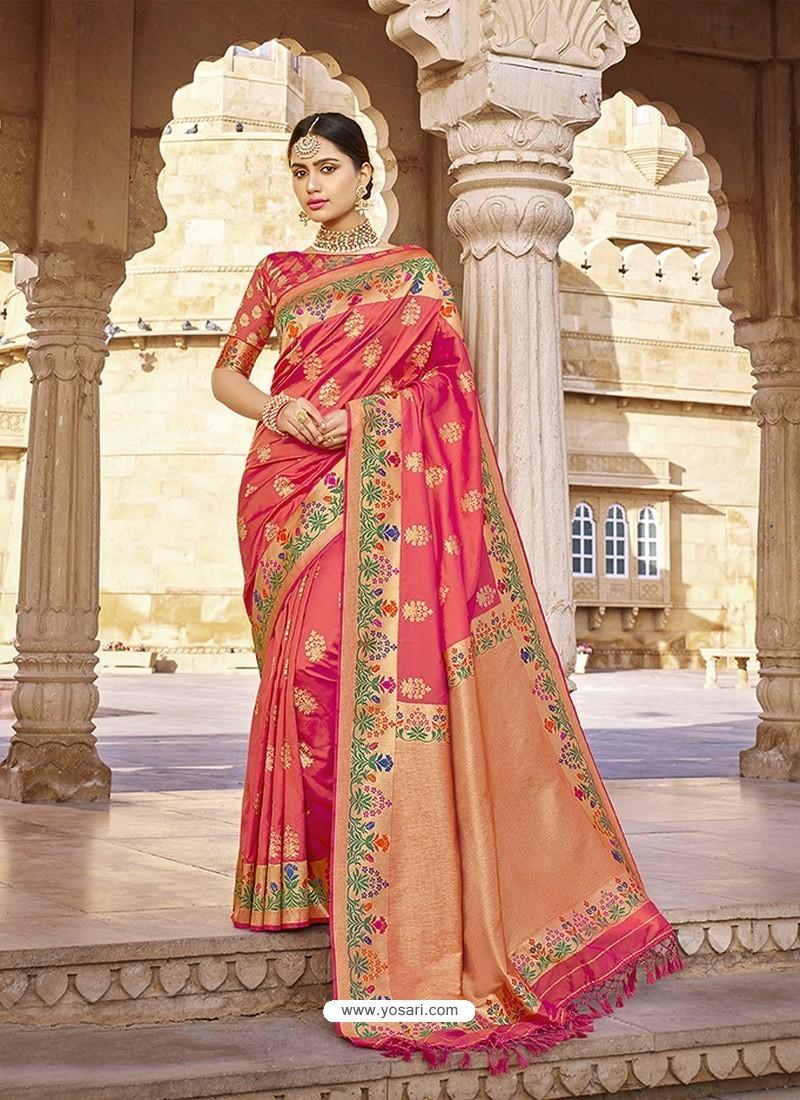 Light Red Stylish Designer Wedding Wear Silk Sari