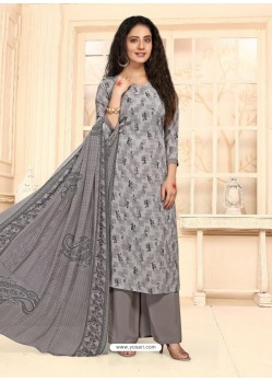 Grey Designer French Crepe Casual Wear Straight Suit