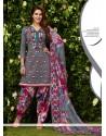Aspiring Glessh Grey Embroidered Work Designer Patila Salwar Suit