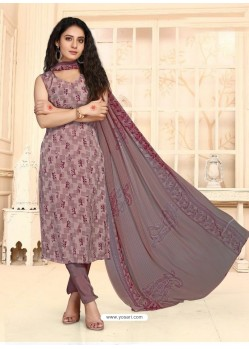 Dusty Pink Designer French Crepe Casual Wear Straight Suit