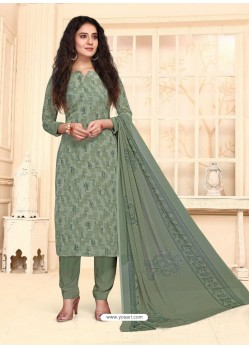 Grayish Green Designer French Crepe Casual Wear Straight Suit