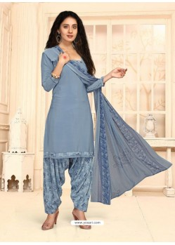 Aqua Grey Designer French Crepe Casual Wear Straight Suit