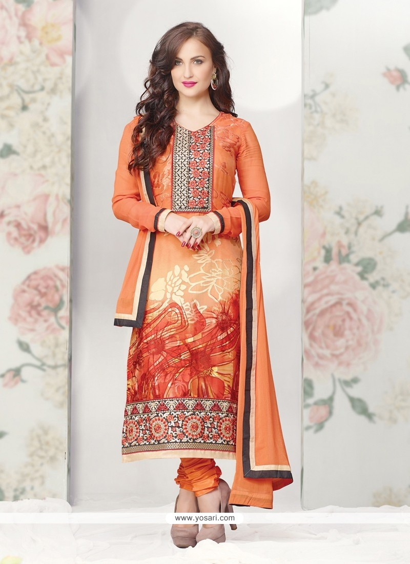 Angelic Orange Printed Brasso Churidar Suit