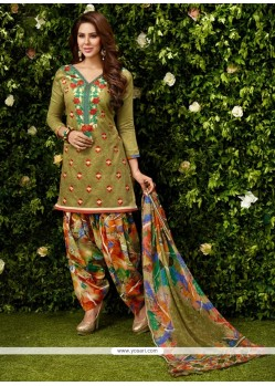 Impressive Embroidered Work Green Designer Patila Salwar Suit