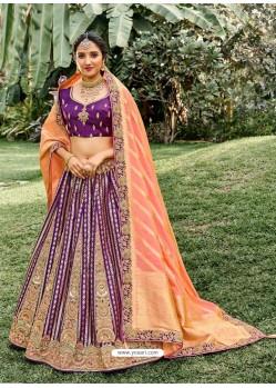 Purple Heavy Embroidered Designer Wedding Lehenga Choli