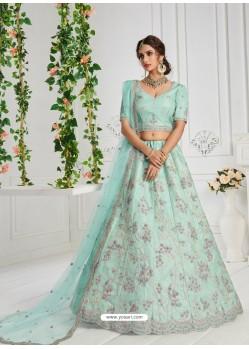 Sky Blue Heavy Embroidered Designer Wedding Lehenga Choli