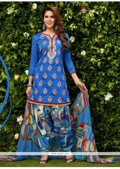 Exuberant Blue Designer Patiala Suit