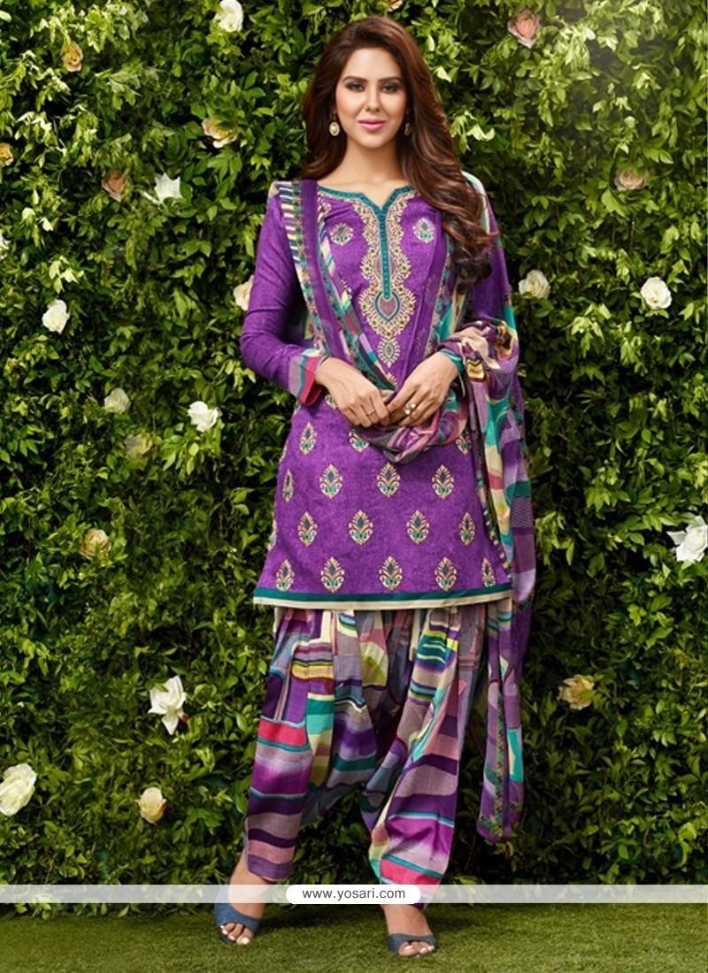 Stunning Lace Work Purple Glessh Designer Patiala Salwar Kameez