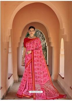 Light Pink Designer Party Wear Printed Cotton Sari