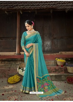 Turquoise Designer Party Wear Printed Chiffon Sari