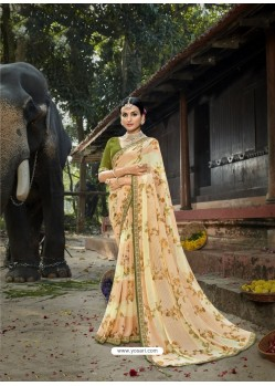 Cream Designer Party Wear Printed Chiffon Sari