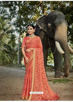 Light Red Designer Party Wear Printed Chiffon Sari