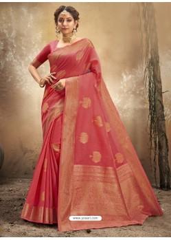 Dark Peach Designer Party Wear Classic Cotton Sari