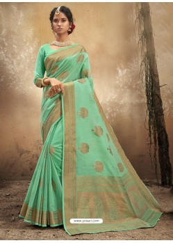 Sea Green Designer Party Wear Classic Cotton Sari