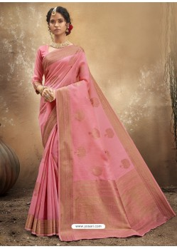 Pink Designer Party Wear Classic Cotton Sari