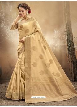 Gold Designer Party Wear Classic Cotton Sari