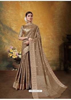 Camel Designer Party Wear Art Silk Sari