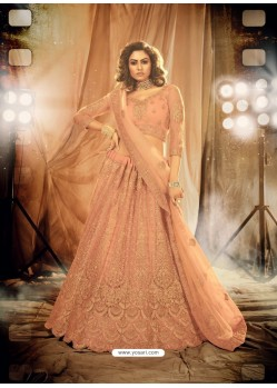 Peach Heavy Embroidered Designer Bridal Lehenga Choli