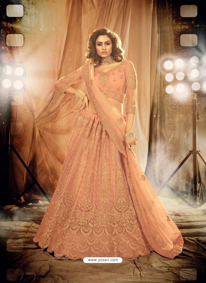 Peach Heavy Embroidered Designer Bridal Lehenga Choli